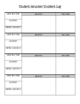 student incident behavior report log