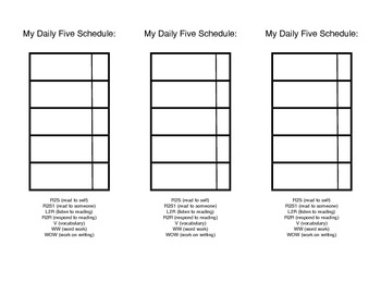 Student Independent Daily Literacy Schedule