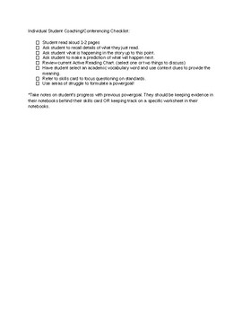 Student Independent Reading Coaching/Conferencing Checklist