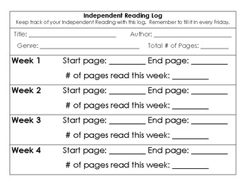 Student Independent Reading Logs - PDF