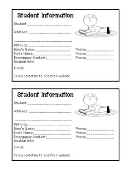 Student Info Cards