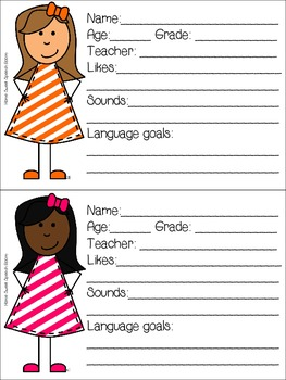 Student Info Cards for SLPs