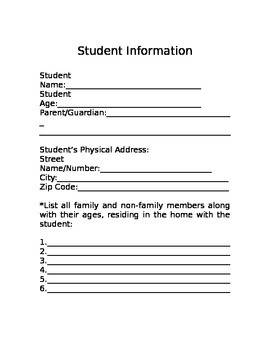 Student Info For Teacher Use