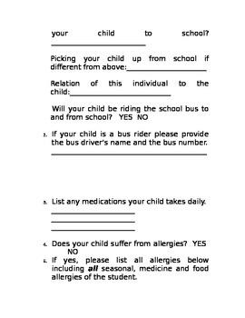 Student Info For Teacher Use