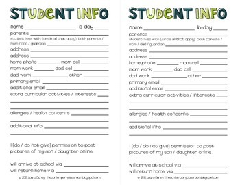 Student Info Form, Full and Half Page Options