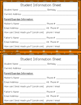 Student Info & Parent Contact Sheet - Open House/Meet the Teacher