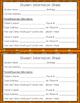 Student Info & Parent Contact Sheet - Open House/Meet the Teacher