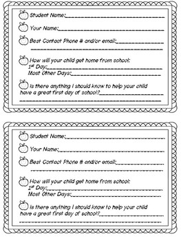 **Simple** Back to School Parent Questionnaire