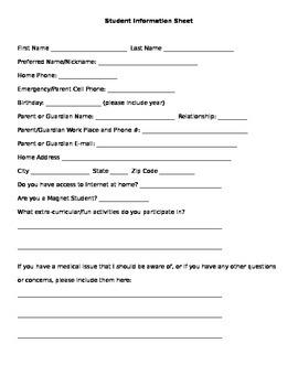 Student Info. Sheet