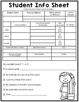 Student Info Sheet {Freebie}