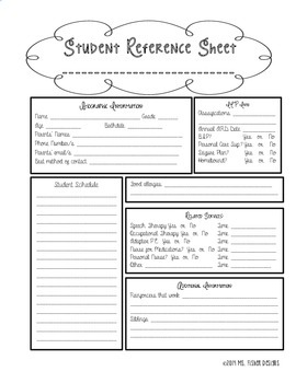 Student Info Sheet SPED