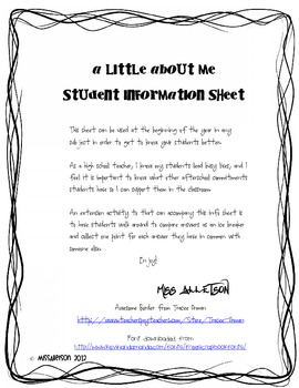 Student Info Sheet for the first day of school