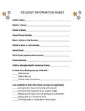 Student Info Sheet w/ parent response