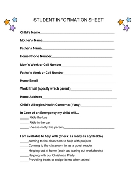 Student Info Sheet w/ parent response