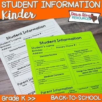 Kindergarten Student Infomation Sheet