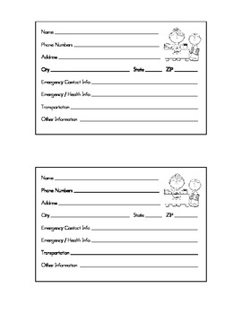 Student Information 4X6 Card