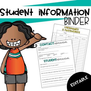 Student Information Binder