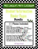 Student Information Binder Pages (Editable!)
