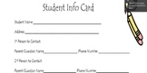 Student Information Card-2 per page