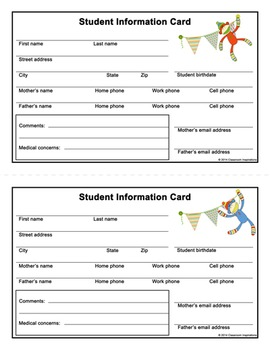 Student Information Card – Coordinates with Sock Monkey Theme - FREEBIE