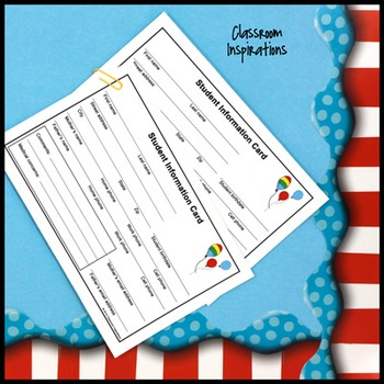 Student Information Card – FREE – Coordinates with Seuss-like Colors Class Theme