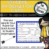 Student Information Card- FREEBIE!