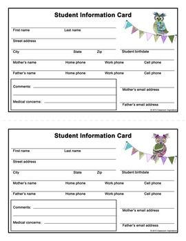 Student Information Card – FREEBIE – Coordinates with Book Smart Owls Them