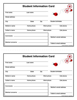 Student Information Card - Freebie - Coordinates with Ladybugs & Dots Theme
