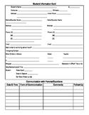 Student Information Card & Parent Communication Log