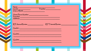 Student Information Card - Special Education