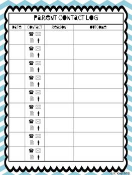 Student Information Card and Parent Contact Log - Blue Chevron