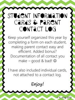 Student Information Card and Parent Contact Log - Green Chevron