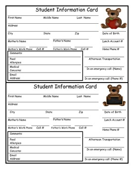Student Information Card for the Busy Teacher