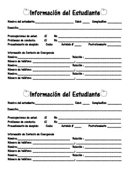 Student Information Card in English and Spanish