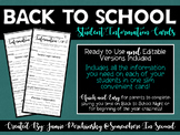Student Information Cards (Print & Go and Editable Files)