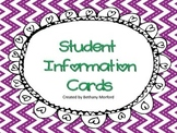 Student Information Cards