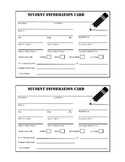 Student Information Cards 2012