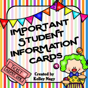 Important Student Information Cards CIRCUS