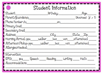 Student Information Cards ((EDITABLE)) Notecard Sized