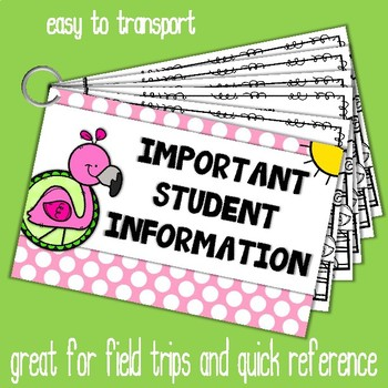 Important Student Information Cards FLAMINGO