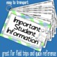 Important Student Information Cards FROG