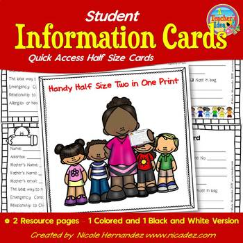 Student Information Cards- Handy Half Size Ring Cards