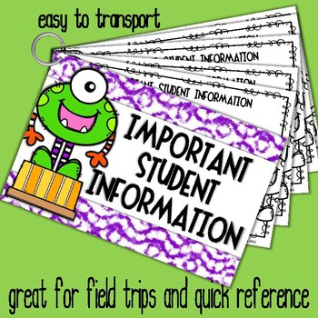Important Student Information Cards MONSTER