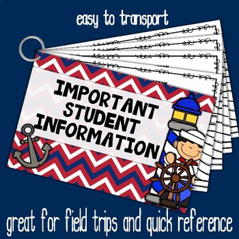 Important Student Information Cards NAUTICAL