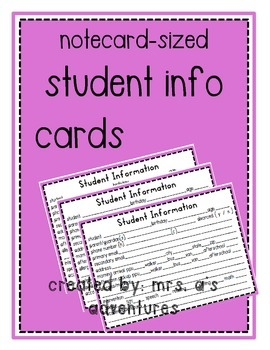 Student Information Cards (Notecard Sized!)