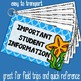 Important Student Information Cards OCEAN