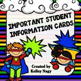 Student Information Cards SUPER HERO