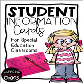 Student Information Cards for Special Education