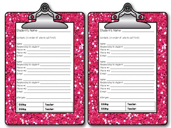Student Information Clipboards