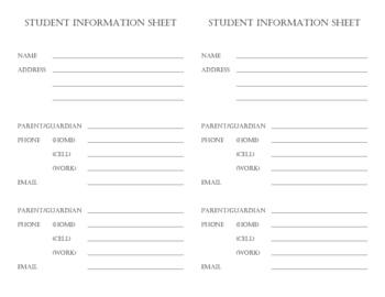 Student Information Collection Sheet